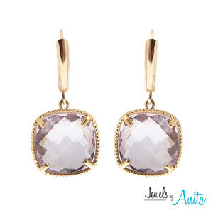 10K Gold Leverback Earrings with Genuine Amethyst